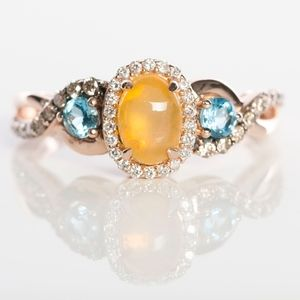 LeVian Opal, Diamond, and Blue Topaz Ring Rose Gol